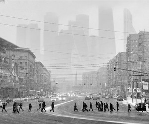 black and white, city, and life image