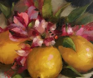 fruit, lemons, and painting image