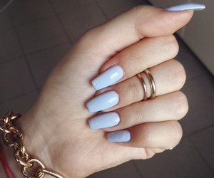 nails, blue, and bracelet image
