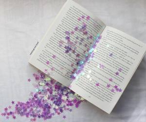 book, stars, and purple image