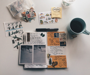 art, journals, and coffee image