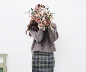 girl, flowers, and kfashion image