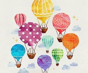 hot air balloons and watercolor image