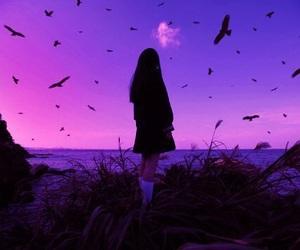 girl, purple, and bird image