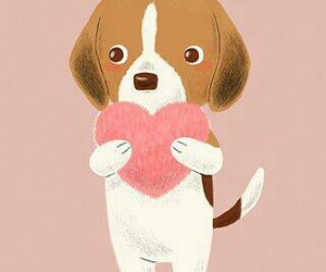 dog, heart, and wallpaper image