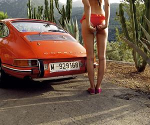 red, girl, and car image