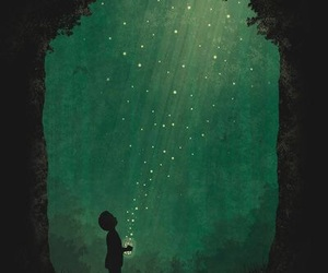 art, boy, and fireflies image