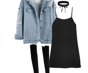 choker, jeans, and outfits image