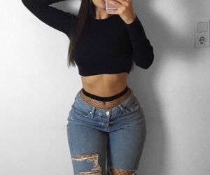 fashion, jeans, and baddie image