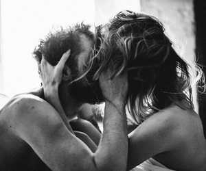 black and white, hairstyle, and kiss image
