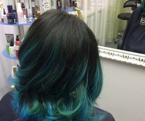 blue, rainbow hair, and ombre image