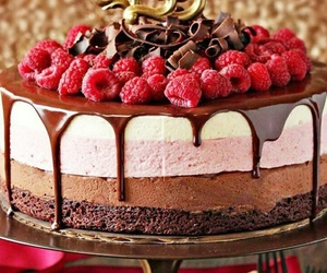 raspberry, cake, and chocolate image