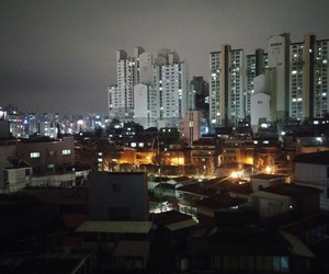 city, korea, and lights image