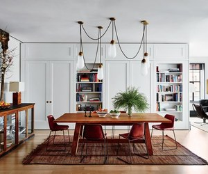 books, white, and dining room image