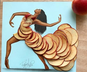 art, drawing, and apple image
