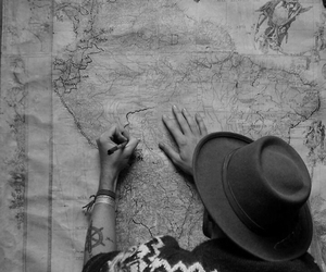 boy, map, and trip image