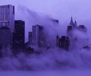 city, purple, and fog image