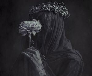 dark, flowers, and black and white image