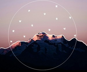 mountains, art, and stars image