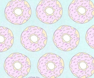 wallpaper, blue, and donut image