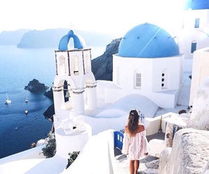 blue, Greece, and girl image