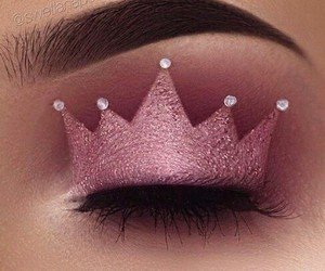makeup, pink, and crown image