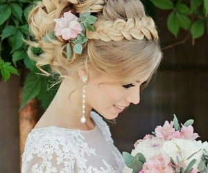 wedding, hairstyle, and bride image