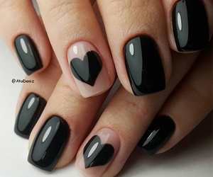 nails, black, and heart image