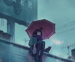 rain, anime, and cat image