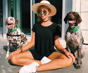 girl, fashion, and dog image