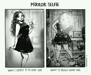 selfie, funny, and mirror image