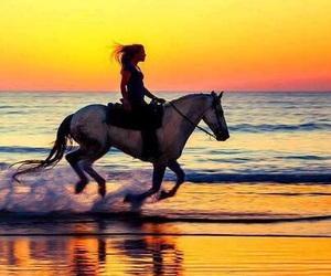 horse, girl, and sea image