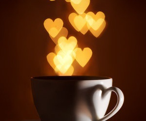 cup, light, and hearts image