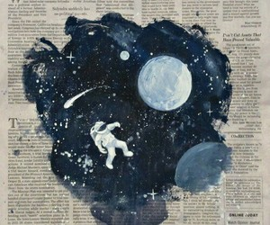 newspaper, daydreaming, and galaxy image