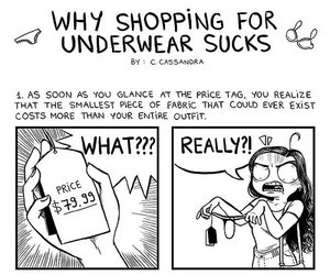 funny, comic, and underwear shopping image