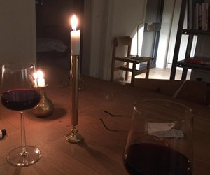 candle, wine, and glasses image