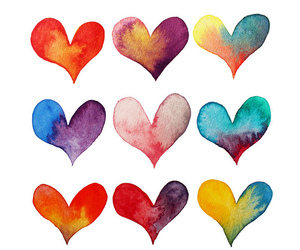 hearts, heart, and colors image