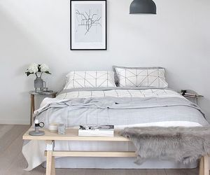 bedroom, white, and grey image