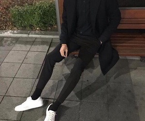 button up, outfit, and sneakers image