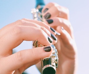 black, flute, and nails image