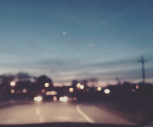 lights, road, and sunset image