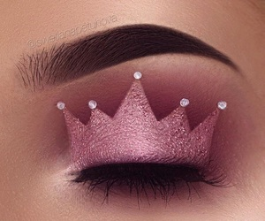 makeup, pink, and crown image