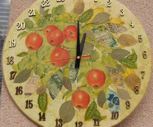 apples, clock, and fruit image