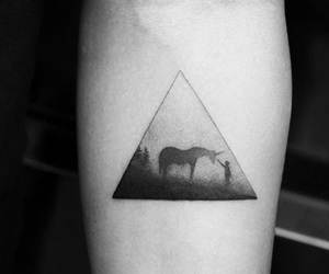 tattoo, triangle, and unicorn tattoo image