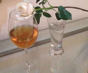 rose, flowers, and wine image