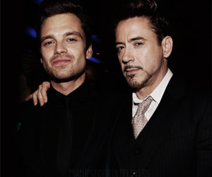 robert downey jr, sebastian stan, and iron man image