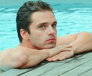 handsome, swimming, and sebastianstan image