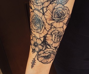 floral, flower tattoo, and forearm tattoo image