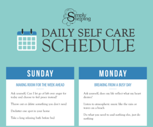 daily, schedule, and self care image