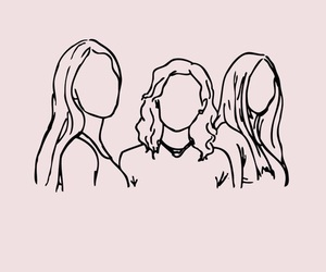 girls, outline, and pink image